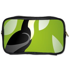 Cute Toucan Bird Cartoon Fly Yellow Green Black Animals Toiletries Bags 2 Side by Mariart