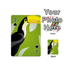 Cute Toucan Bird Cartoon Fly Yellow Green Black Animals Playing Cards 54 (mini)  by Mariart