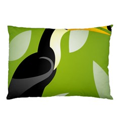 Cute Toucan Bird Cartoon Fly Yellow Green Black Animals Pillow Case (two Sides) by Mariart