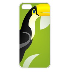 Cute Toucan Bird Cartoon Fly Yellow Green Black Animals Apple Iphone 5 Seamless Case (white) by Mariart