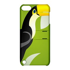 Cute Toucan Bird Cartoon Fly Yellow Green Black Animals Apple Ipod Touch 5 Hardshell Case With Stand by Mariart