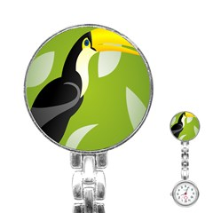 Cute Toucan Bird Cartoon Fly Yellow Green Black Animals Stainless Steel Nurses Watch by Mariart