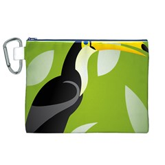 Cute Toucan Bird Cartoon Fly Yellow Green Black Animals Canvas Cosmetic Bag (xl) by Mariart