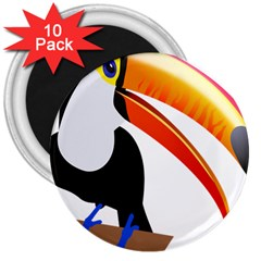 Cute Toucan Bird Cartoon Fly 3  Magnets (10 Pack)  by Mariart