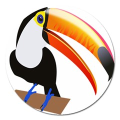 Cute Toucan Bird Cartoon Fly Magnet 5  (round) by Mariart