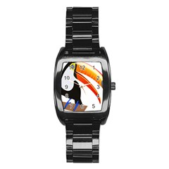 Cute Toucan Bird Cartoon Fly Stainless Steel Barrel Watch by Mariart