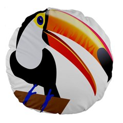 Cute Toucan Bird Cartoon Fly Large 18  Premium Flano Round Cushions by Mariart