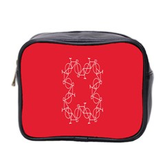 Cycles Bike White Red Sport Mini Toiletries Bag 2 Side by Mariart