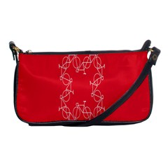 Cycles Bike White Red Sport Shoulder Clutch Bags by Mariart