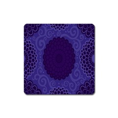 Flower Floral Sunflower Blue Purple Leaf Wave Chevron Beauty Sexy Square Magnet by Mariart
