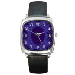 Flower Floral Sunflower Blue Purple Leaf Wave Chevron Beauty Sexy Square Metal Watch by Mariart