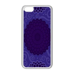 Flower Floral Sunflower Blue Purple Leaf Wave Chevron Beauty Sexy Apple Iphone 5c Seamless Case (white) by Mariart