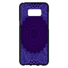 Flower Floral Sunflower Blue Purple Leaf Wave Chevron Beauty Sexy Samsung Galaxy S8 Plus Black Seamless Case by Mariart