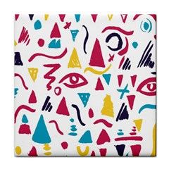 Eye Triangle Wave Chevron Red Yellow Blue Tile Coasters by Mariart