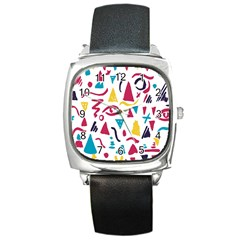 Eye Triangle Wave Chevron Red Yellow Blue Square Metal Watch by Mariart
