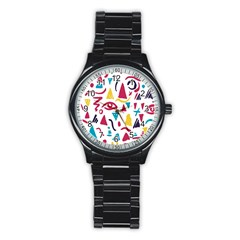 Eye Triangle Wave Chevron Red Yellow Blue Stainless Steel Round Watch by Mariart
