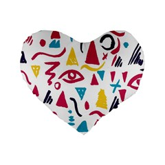 Eye Triangle Wave Chevron Red Yellow Blue Standard 16  Premium Flano Heart Shape Cushions by Mariart