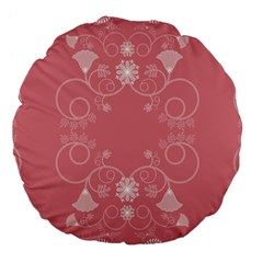 Flower Floral Leaf Pink Star Sunflower Large 18  Premium Flano Round Cushions by Mariart