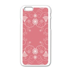 Flower Floral Leaf Pink Star Sunflower Apple Iphone 6/6s White Enamel Case by Mariart