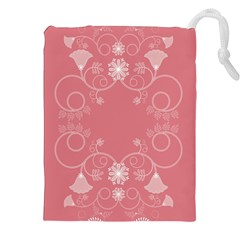 Flower Floral Leaf Pink Star Sunflower Drawstring Pouches (xxl) by Mariart
