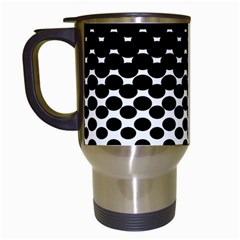 Gradient Circle Round Black Polka Travel Mugs (white) by Mariart
