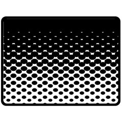 Gradient Circle Round Black Polka Double Sided Fleece Blanket (large)  by Mariart