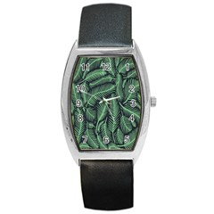 Coconut Leaves Summer Green Barrel Style Metal Watch by Mariart