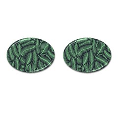 Coconut Leaves Summer Green Cufflinks (oval) by Mariart