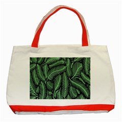 Coconut Leaves Summer Green Classic Tote Bag (red) by Mariart