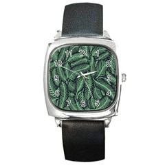 Coconut Leaves Summer Green Square Metal Watch by Mariart
