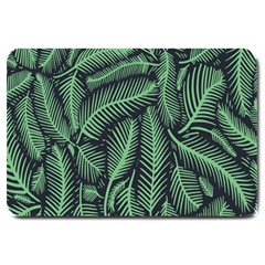 Coconut Leaves Summer Green Large Doormat  by Mariart