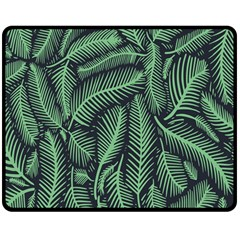 Coconut Leaves Summer Green Double Sided Fleece Blanket (medium)  by Mariart
