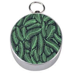 Coconut Leaves Summer Green Silver Compasses by Mariart