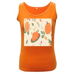 Happy Thanksgiving Chicken Bird Flower Floral Pumpkin Sunflower Women s Dark Tank Top
