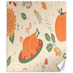 Happy Thanksgiving Chicken Bird Flower Floral Pumpkin Sunflower Canvas 8  X 10  by Mariart