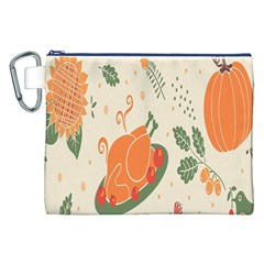 Happy Thanksgiving Chicken Bird Flower Floral Pumpkin Sunflower Canvas Cosmetic Bag (xxl) by Mariart