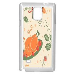 Happy Thanksgiving Chicken Bird Flower Floral Pumpkin Sunflower Samsung Galaxy Note 4 Case (white) by Mariart