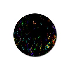 Colorful Music Notes Rainbow Rubber Coaster (round)  by Mariart