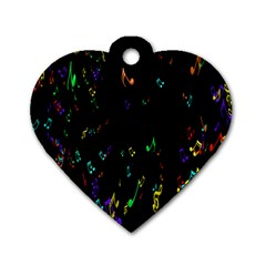 Colorful Music Notes Rainbow Dog Tag Heart (two Sides) by Mariart