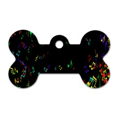 Colorful Music Notes Rainbow Dog Tag Bone (two Sides) by Mariart
