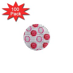 Fruit Patterns Bouffants Broken Hearts Dragon Polka Dots Red Black 1  Mini Magnets (100 Pack)  by Mariart