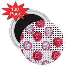 Fruit Patterns Bouffants Broken Hearts Dragon Polka Dots Red Black 2 25  Magnets (100 Pack)  by Mariart
