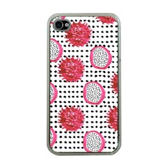 Fruit Patterns Bouffants Broken Hearts Dragon Polka Dots Red Black Apple Iphone 4 Case (clear) by Mariart