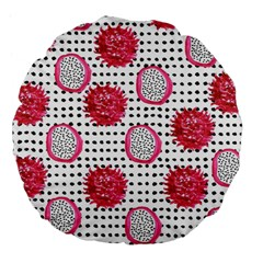 Fruit Patterns Bouffants Broken Hearts Dragon Polka Dots Red Black Large 18  Premium Flano Round Cushions by Mariart
