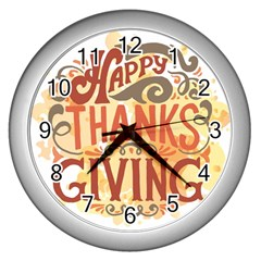 Happy Thanksgiving Sign Wall Clocks (silver)  by Mariart