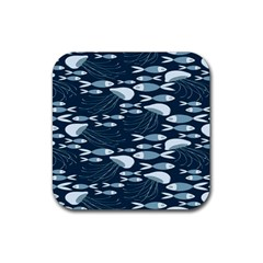 Jellyfish Fish Cartoon Sea Seaworld Rubber Square Coaster (4 Pack)  by Mariart