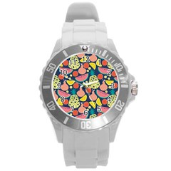 Fruit Pineapple Watermelon Orange Tomato Fruits Round Plastic Sport Watch (l) by Mariart