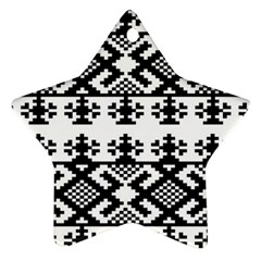 Model Traditional Draperie Line Black White Triangle Star Ornament (two Sides) by Mariart