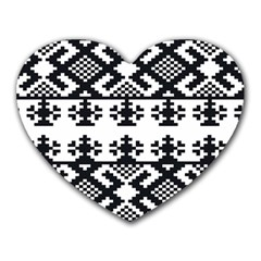 Model Traditional Draperie Line Black White Triangle Heart Mousepads by Mariart