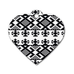 Model Traditional Draperie Line Black White Triangle Dog Tag Heart (one Side) by Mariart